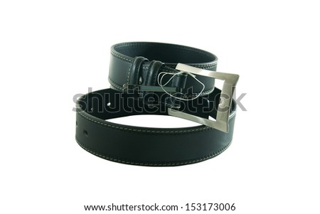 Man's black belt on a white background