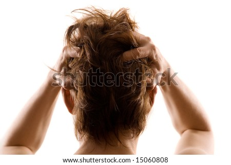 man's depression - stock photo
