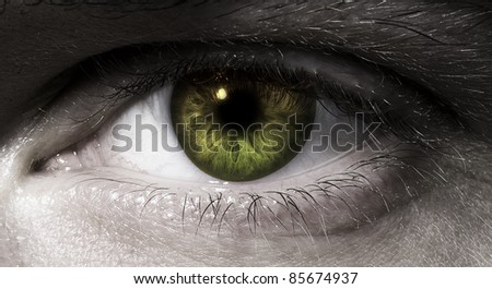 man's eye in close up - stock photo