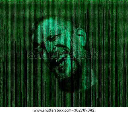 man's face with eyes closed, immersed in a matrix of binary code