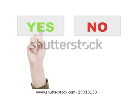 Man's Finger pressing the YES key - Isolated over white background - stock photo
