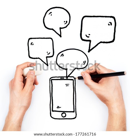 Man's hand draws phone and messages on white background - stock photo