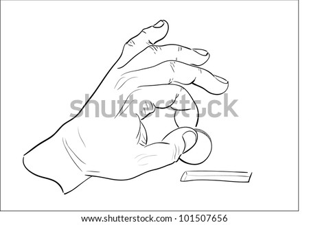 Man's hand dropping coin into moneybox hole. Sketch illustration. - stock photo