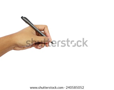 man's hand holding a pen isolated on a white background  - stock photo