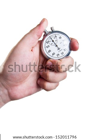 Man's hand holding a stopwatch isolated on white background