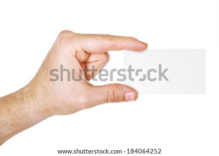 Man's hand holding a visit card