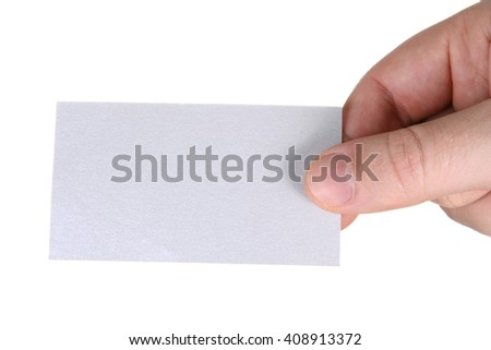 Man's hand holding blank paper business card, closeup isolated on white background