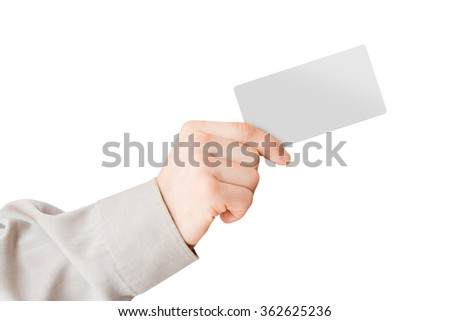 Man's hand holding card - stock photo