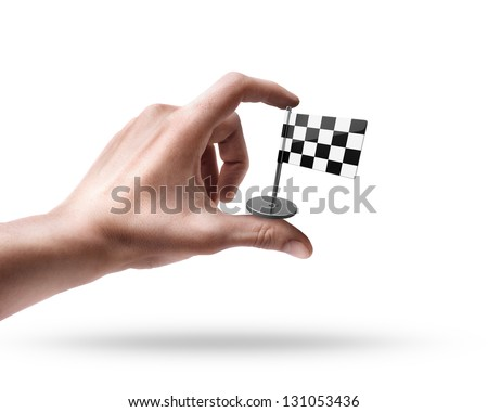 Man's hand holding Checkered Flag isolated on white background