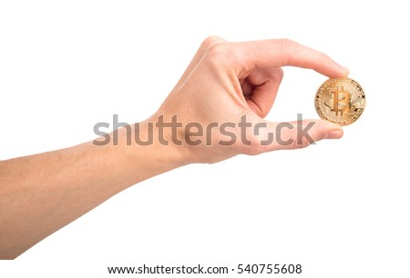 Mans Hand Holding Golden Bitcoin Isolated On White Background