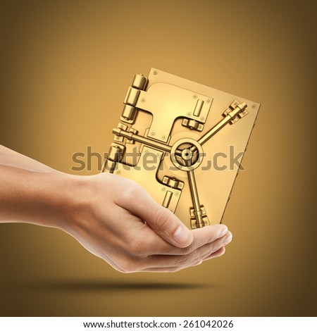 Man's hand holding  golden safe. High resolution 3D. collection of gold objects - stock photo