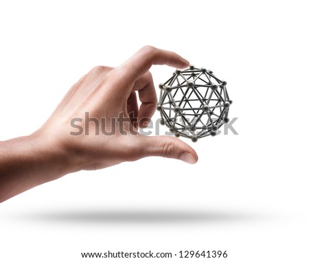 Man's hand holding molecules structure sphere isolated on white background - stock photo