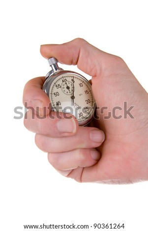 Man's hand holding stopwatch isolated on a white background