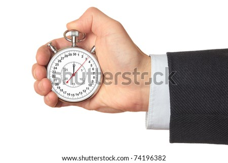 Man's hand holding stopwatch, isolated on the white background. - stock photo