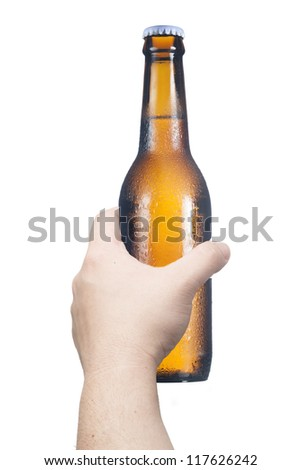 Man's hand holding the beer bottle. Concept for celebration - stock photo