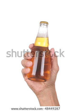 Man's hand holding up a clear beer bottle without label over a white background vertical format - stock photo