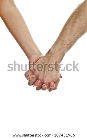 Man's hand holding woman's hand. Isolated on white.