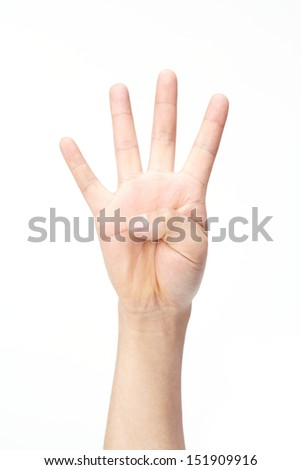man's hand isolated on white background.