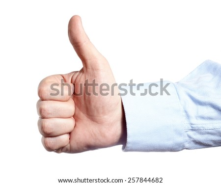 Man's hand isolated on white. Thumb up. - stock photo