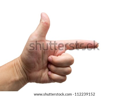 man's hand on a white background - stock photo