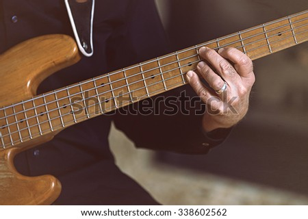 Mans Hand On Fret Guitar Play Stock Photo (100% Legal Protection ...