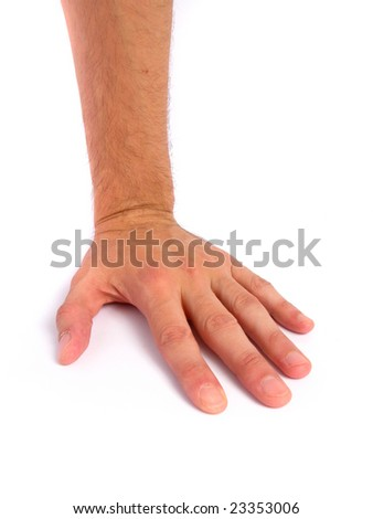 Man's Hand on White background - stock photo