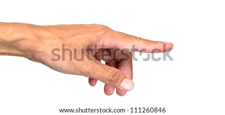 Man's hand press button or point at something isolated on white background.