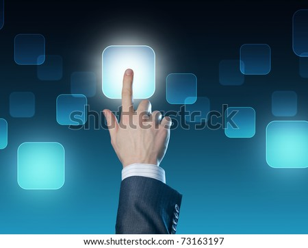 Man's hand pushing the button.Choice concept .Touchscreen - stock photo