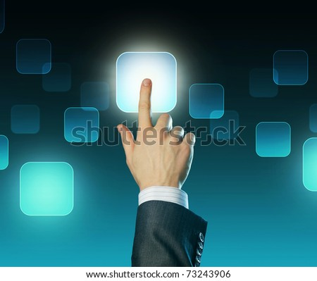 Man's hand pushing the button.Touchscreen. Choice concept - stock photo