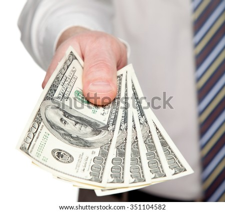Man's hand reaching out money on white background