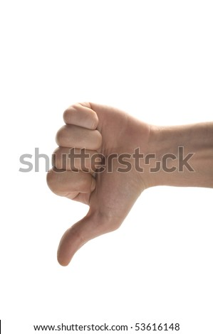 man's hand  showing thumb down isolated on white background - stock photo