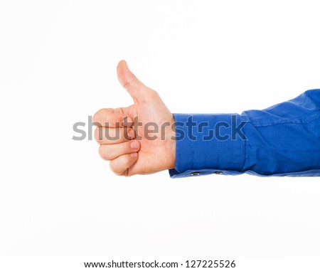 Man's hand showing thumbs up sign