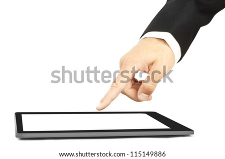 Man's hand touch a tablet - stock photo