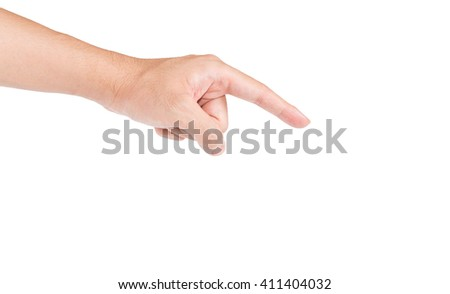 man's hand touch something - stock photo