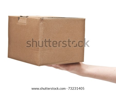 man's hand with cardboard box on white background - stock photo