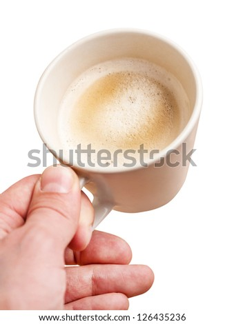 Man's hand with cup of coffee,  isolated on white - stock photo