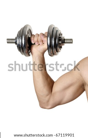 man's hand with muscles and  big biceps holds iron dumbbell - stock photo