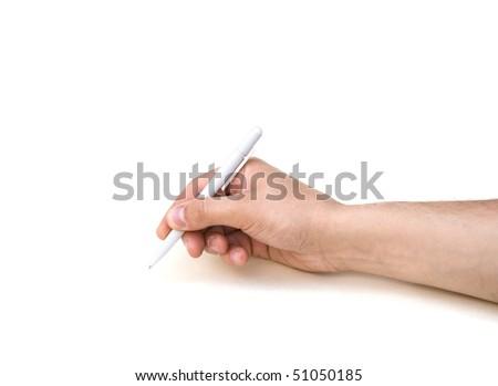 Man's hand writing - stock photo