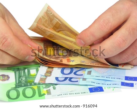 Man's hands counting euro notes, isolated - stock photo