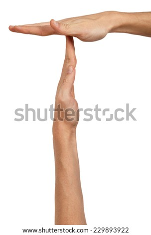 Man's hands in a position to indicate timeout sign isolated on white background - stock photo