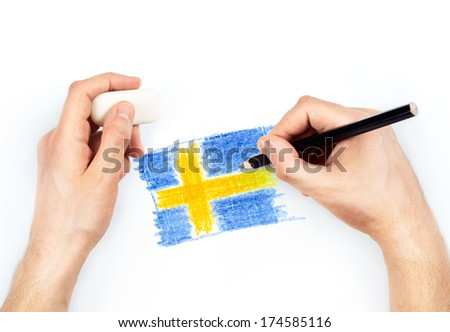 Man's hands with pencil draws flag of Sweden on white background - stock photo
