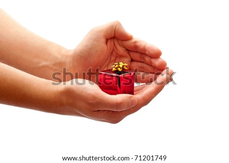 Man's holding a christmas gift. Isolated on white background - stock photo