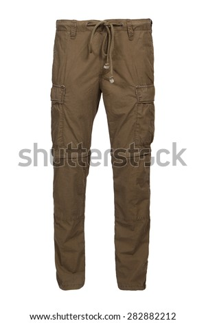 man's khaki cargo pants - stock photo