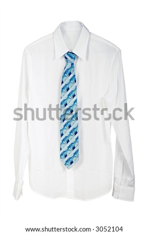 Man's shirt with a tie on a white background - stock photo
