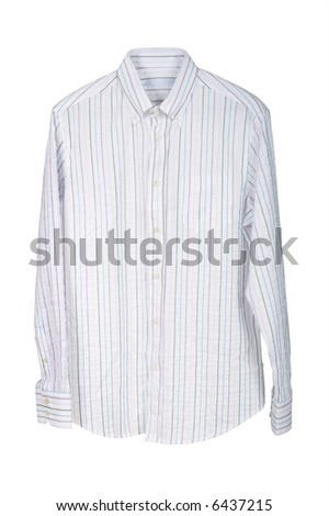 Man's striped shirt on a white background - stock photo