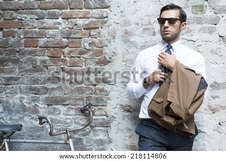 Man's style, dressing, suit, shirt, glasses - stock photo