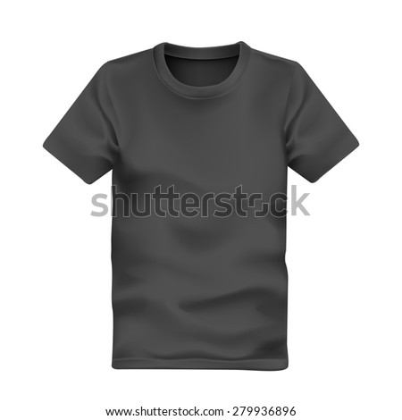 man's t-shirt in black isolated on white background