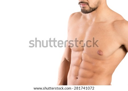 Man's torso showing great abdominal muscles isolated in white