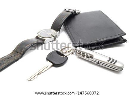 Man's Wallet,  motorcycle keys and wrist watch, isolated on white - stock photo