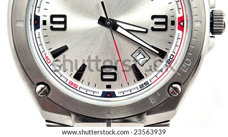Man's watch closeup isolated on white - stock photo